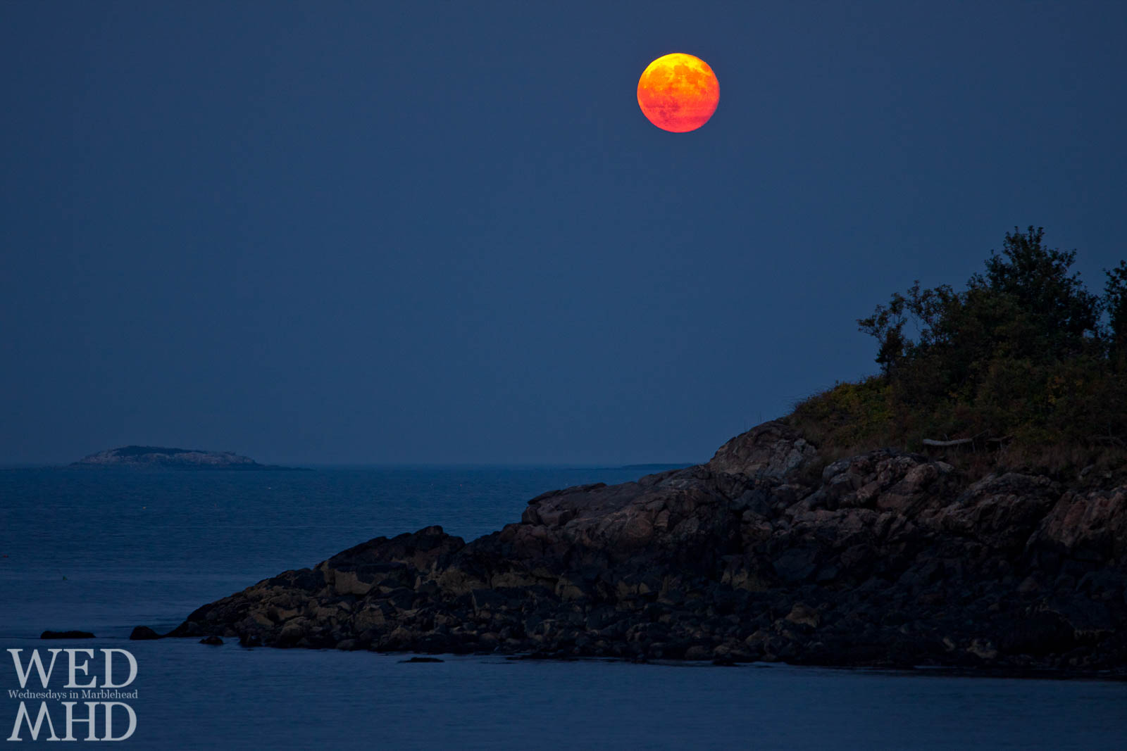 The Harvest Moon rises over Crowninshield Island