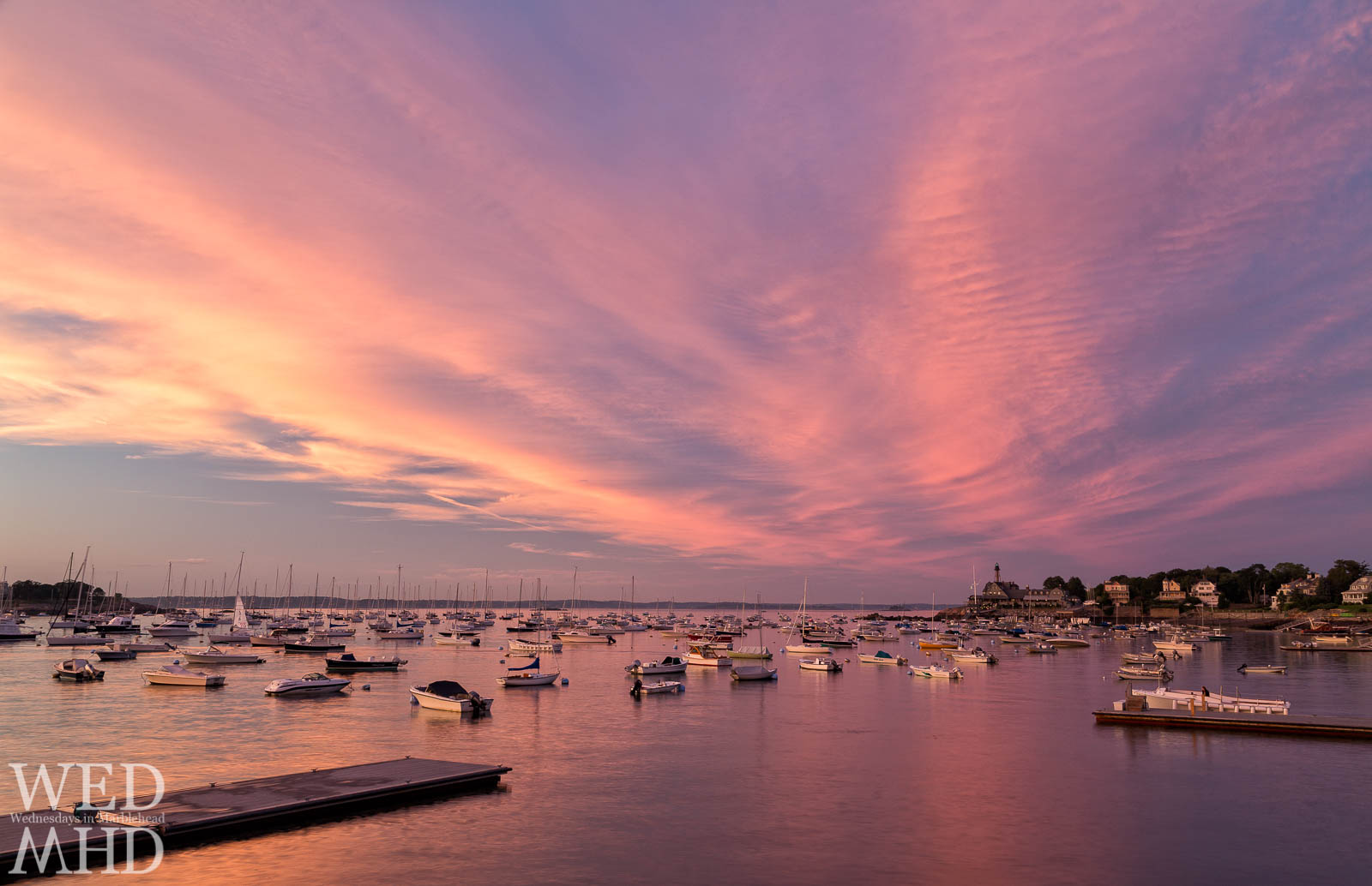 pink sunset over harbor