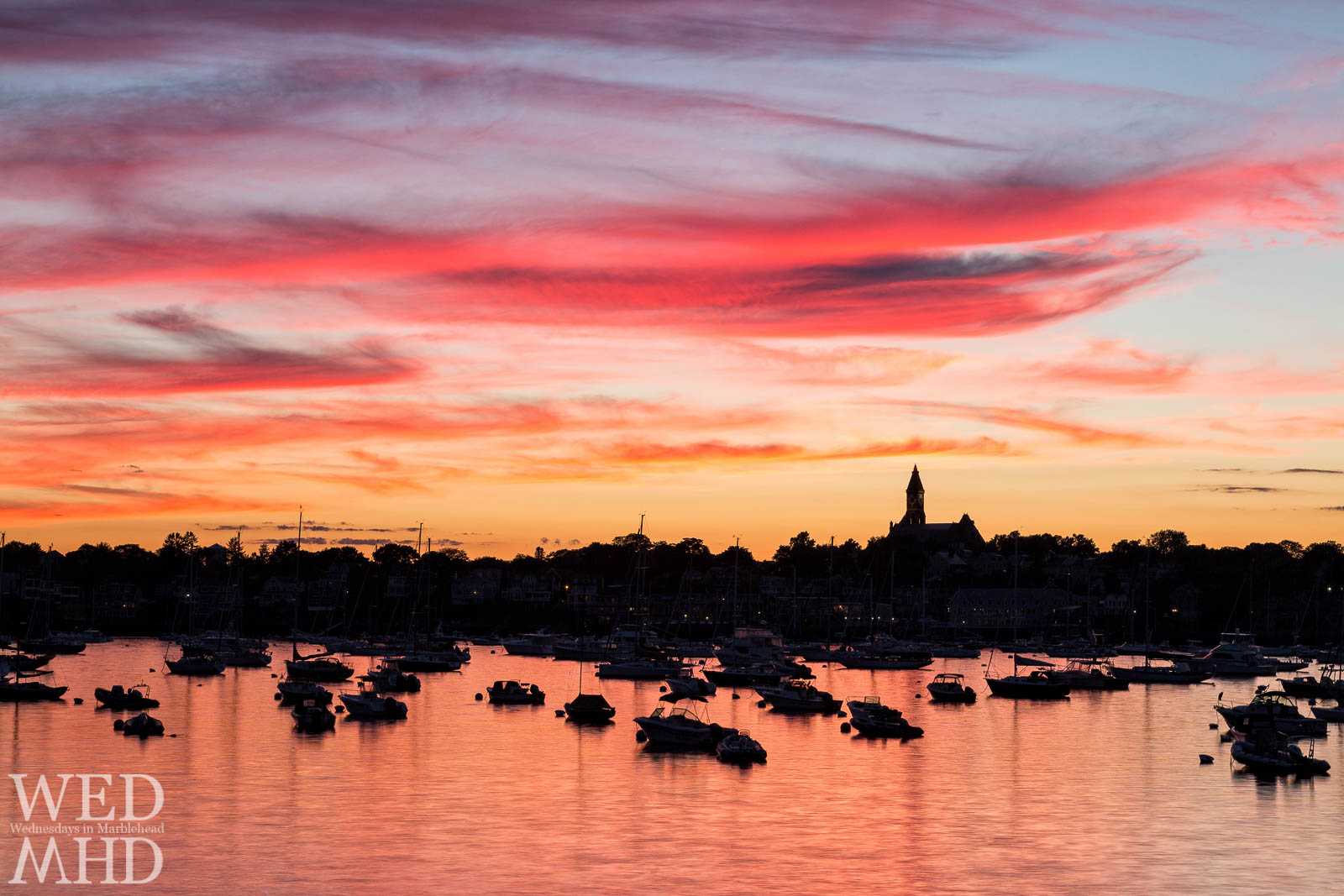 Marblehead Harbor Bathed in a Red Sunset