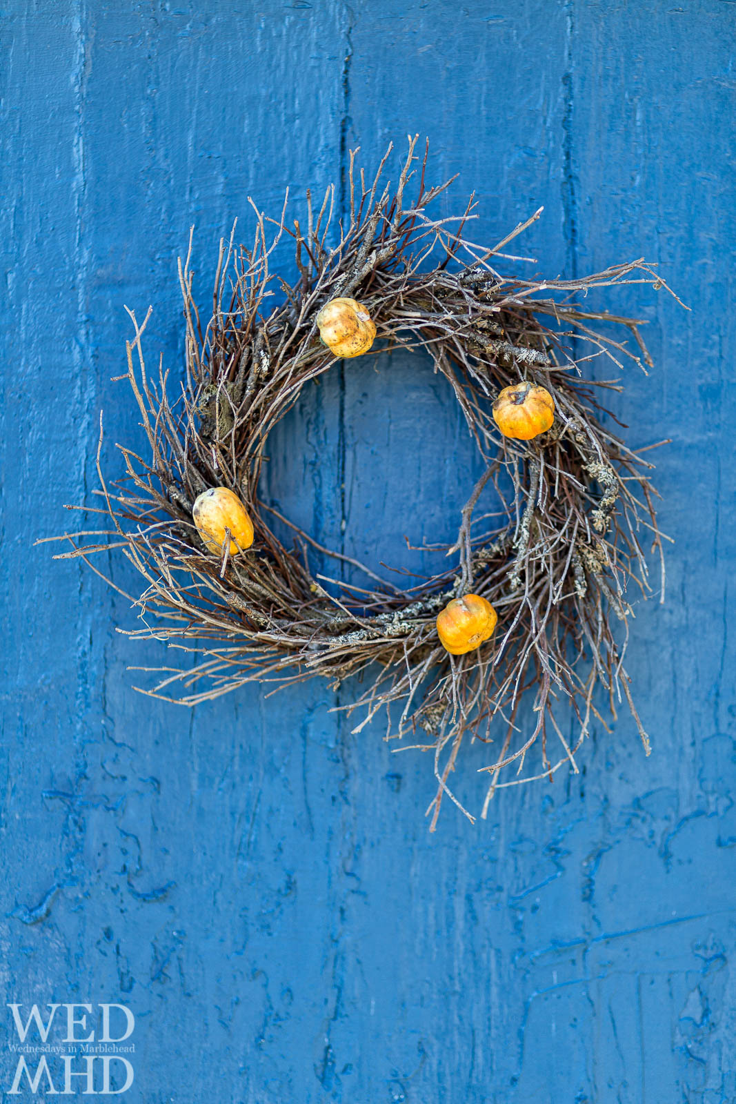Fall Wreath on a Blue Door