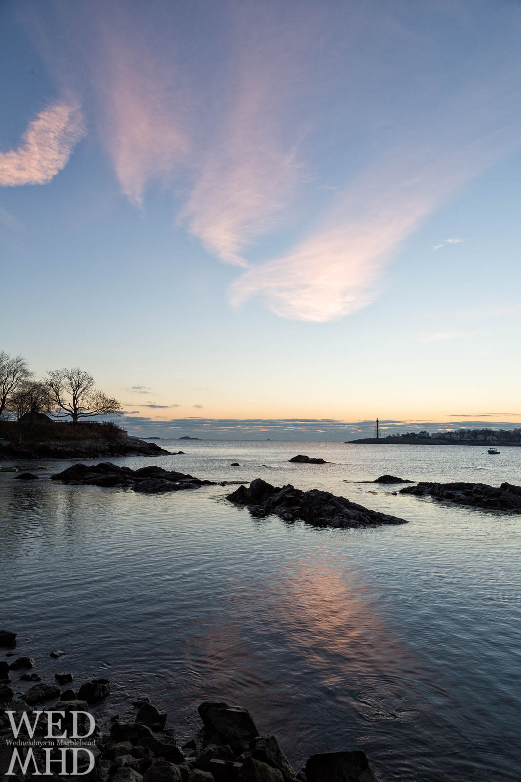Pink Clouds at Dawn Over Marblehead Harbor