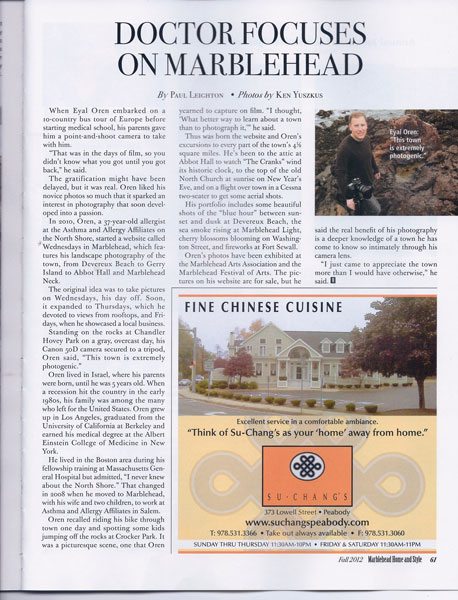 Eyal Oren was featured in Marblehead Home and Style magazine