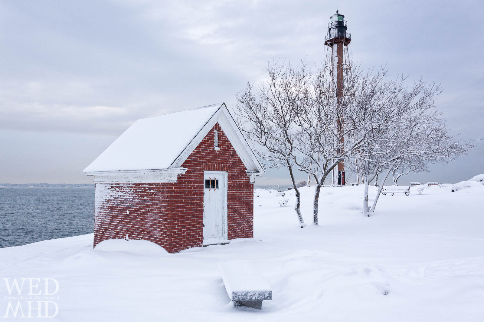 brick oil house in snow