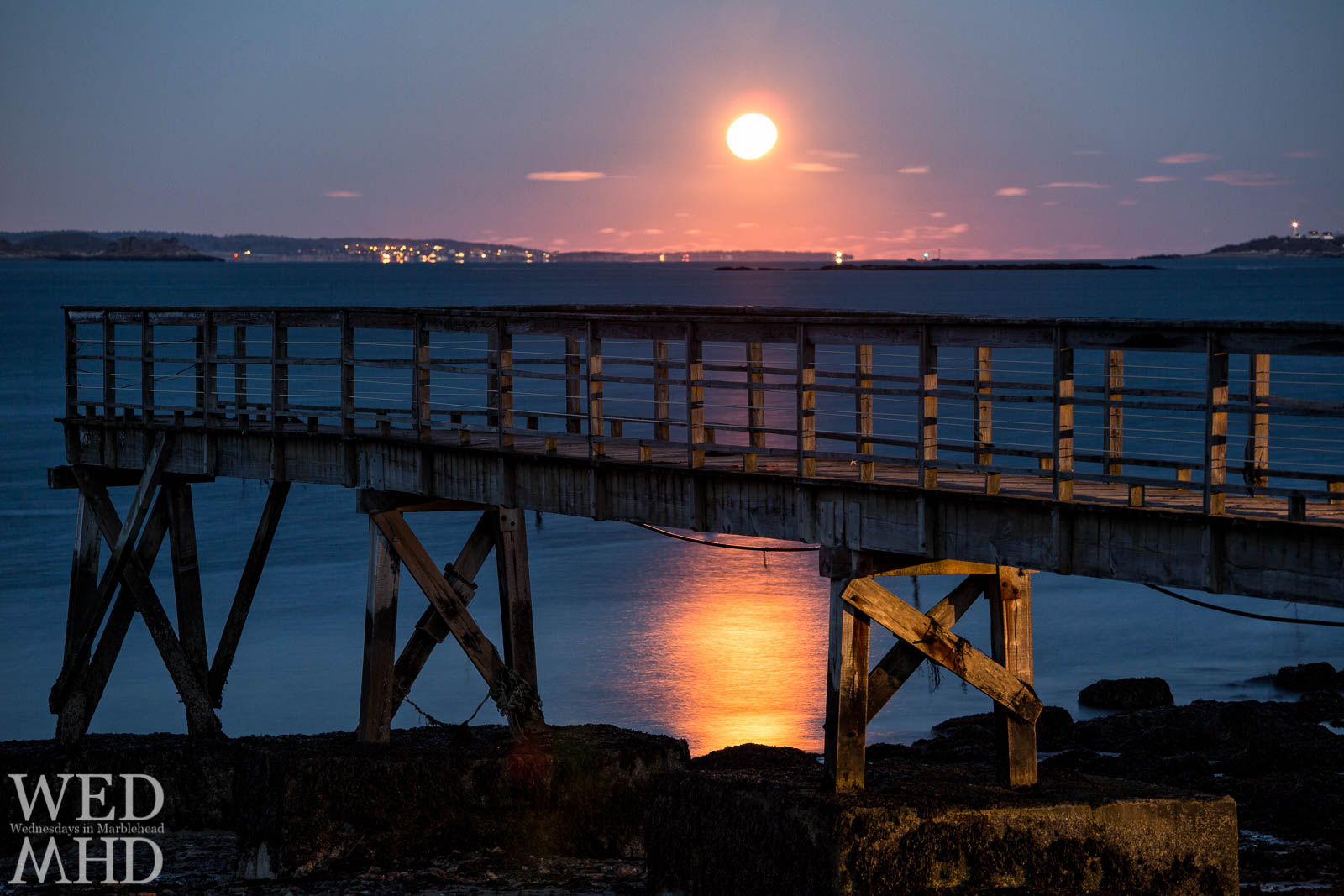 The Long Night Moon Rises over the Pier on Mooring Road