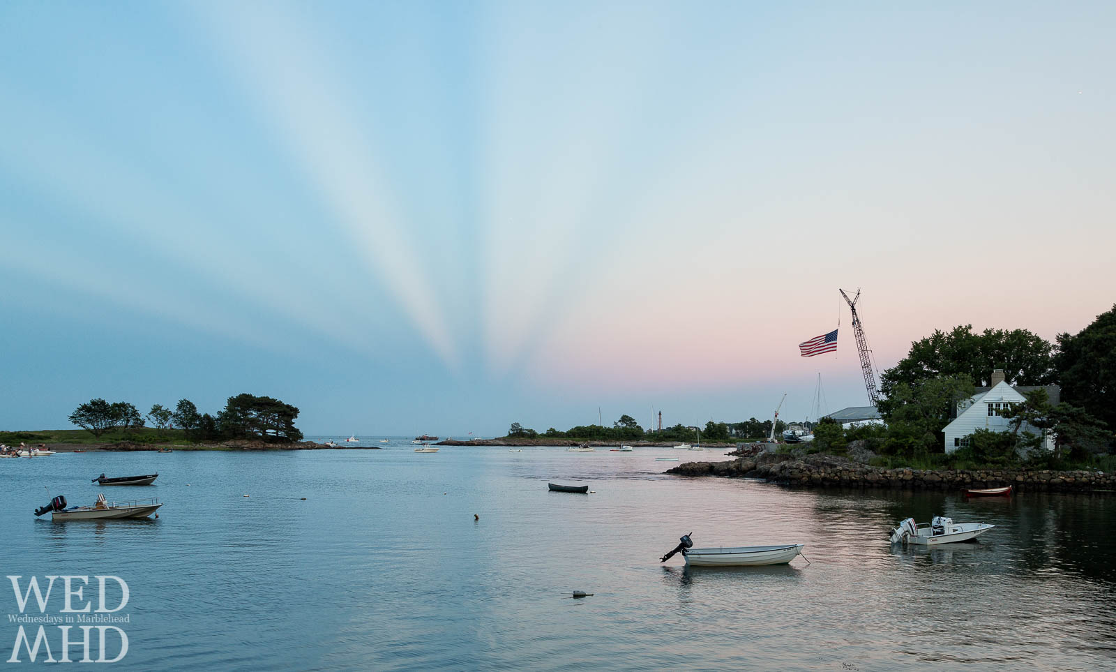 Anticrepuscular Rays at Sunset over Little Harbor