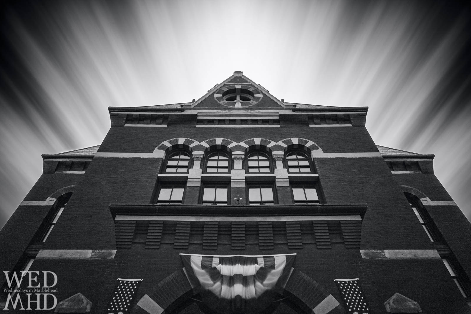 Abbot Hall in black and white