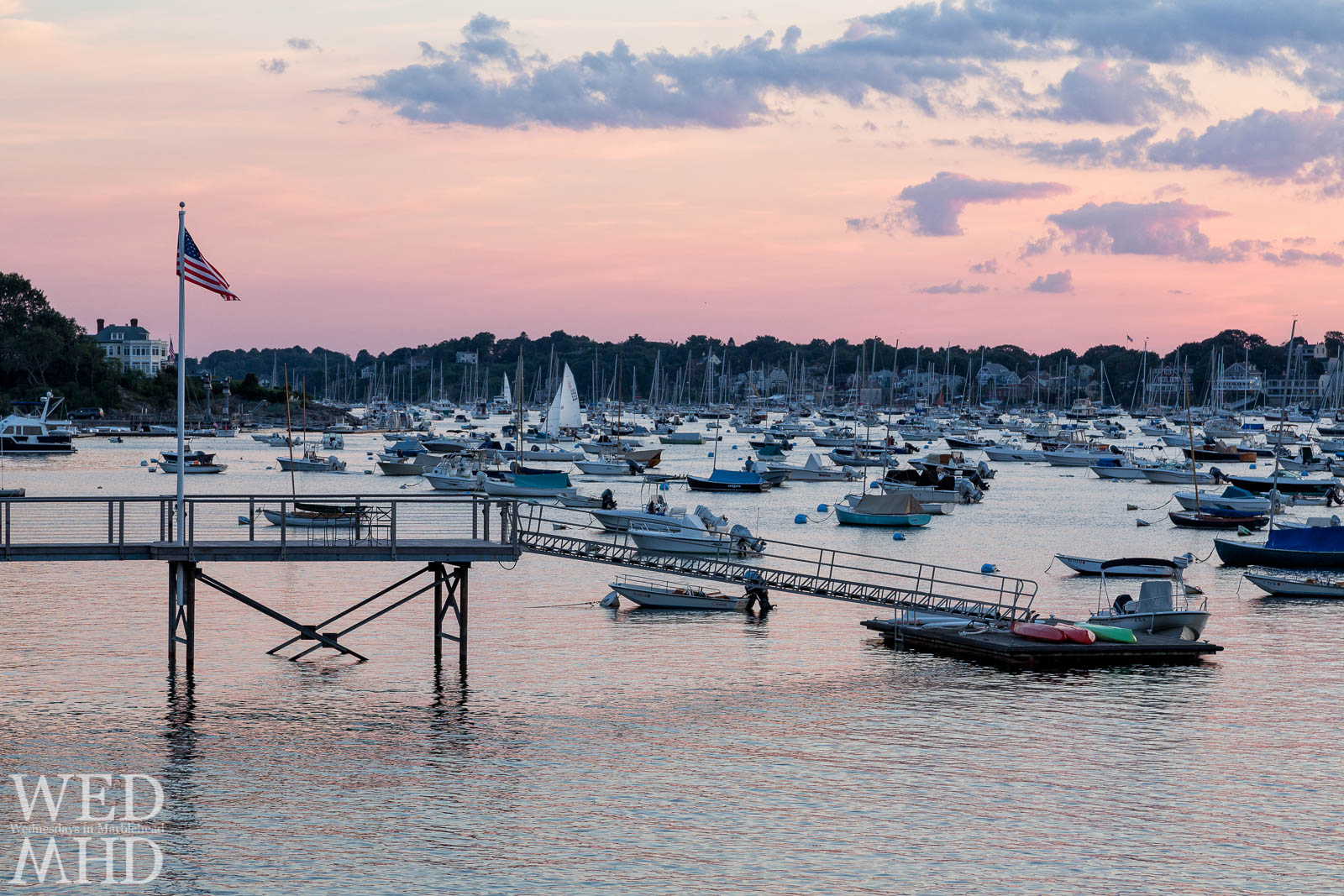 Marblehead Harbor Filled with Boats at Sunset