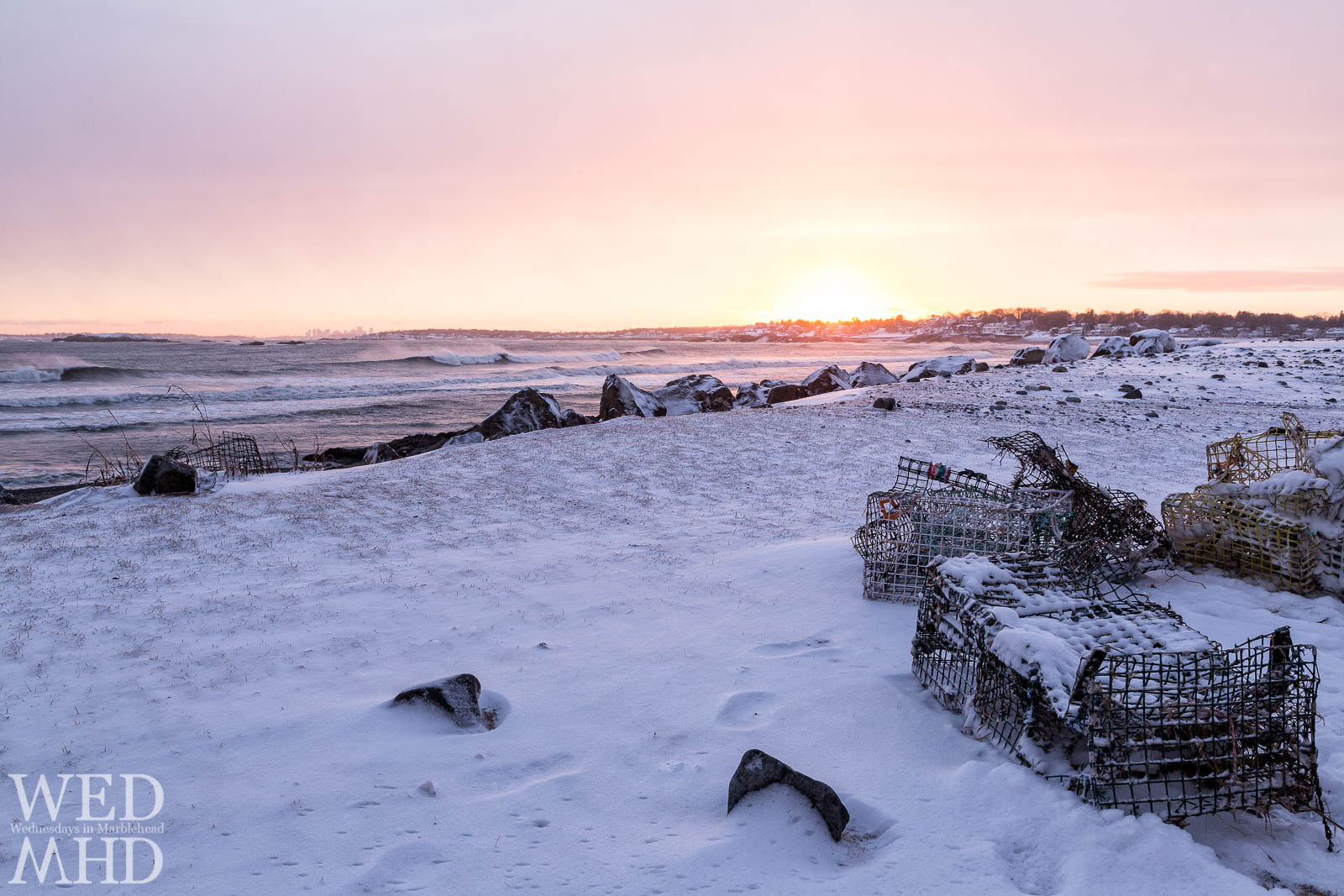 Snow in Marblehead – Lobster Traps at Sunset