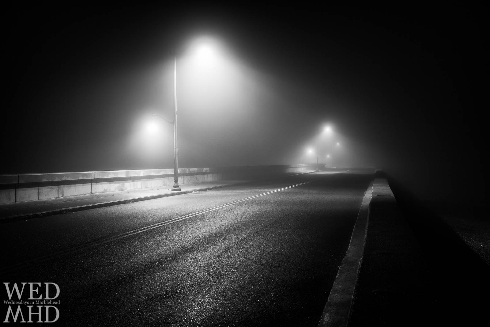 foggy night with lamp posts