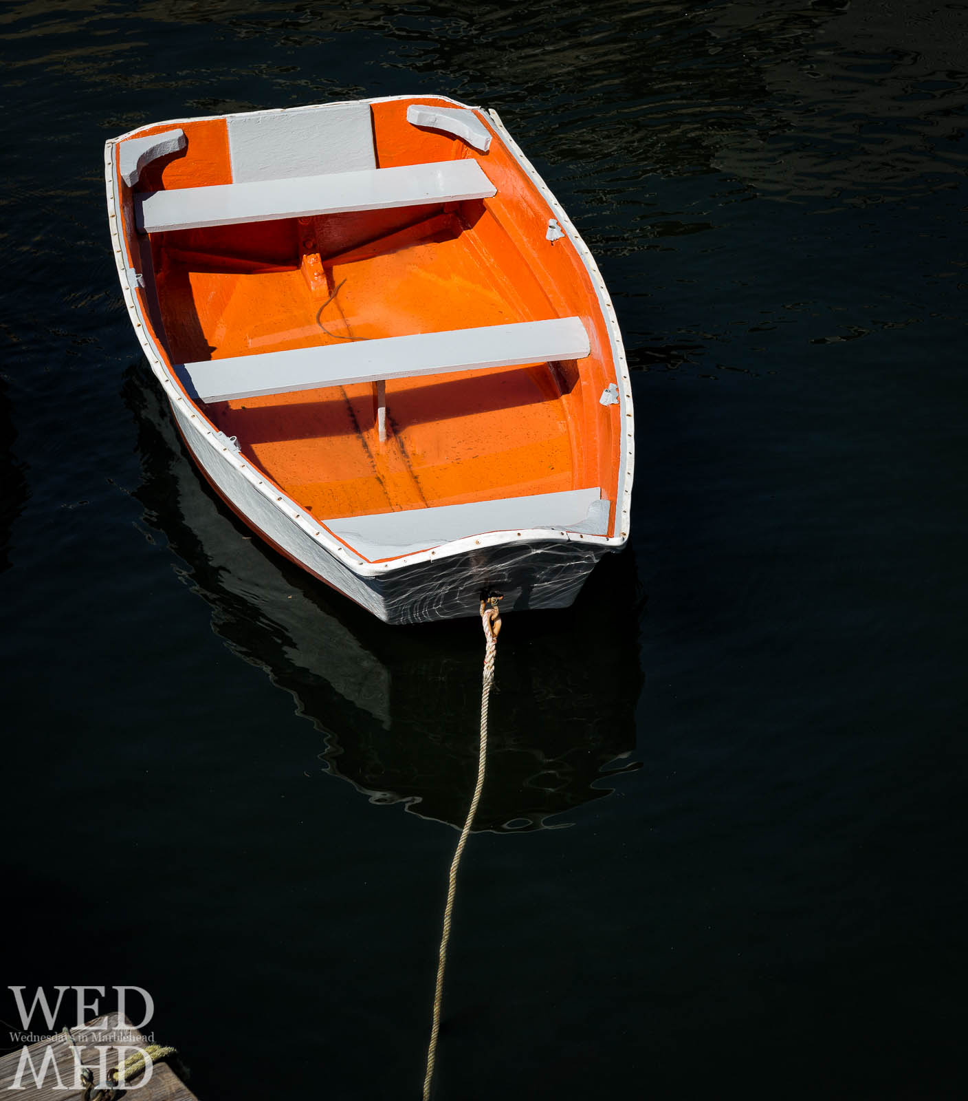 Orange Dinghy in Marblehead Harbor