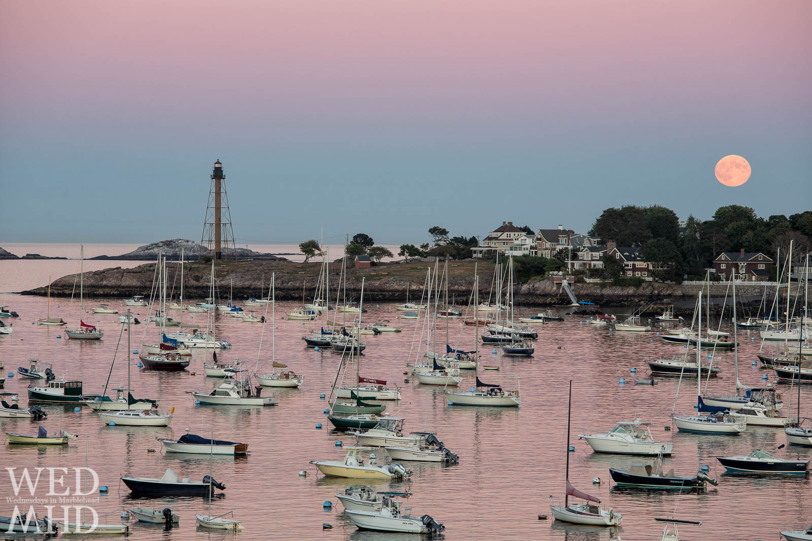 Harvest Moon and Marblehead Harbor