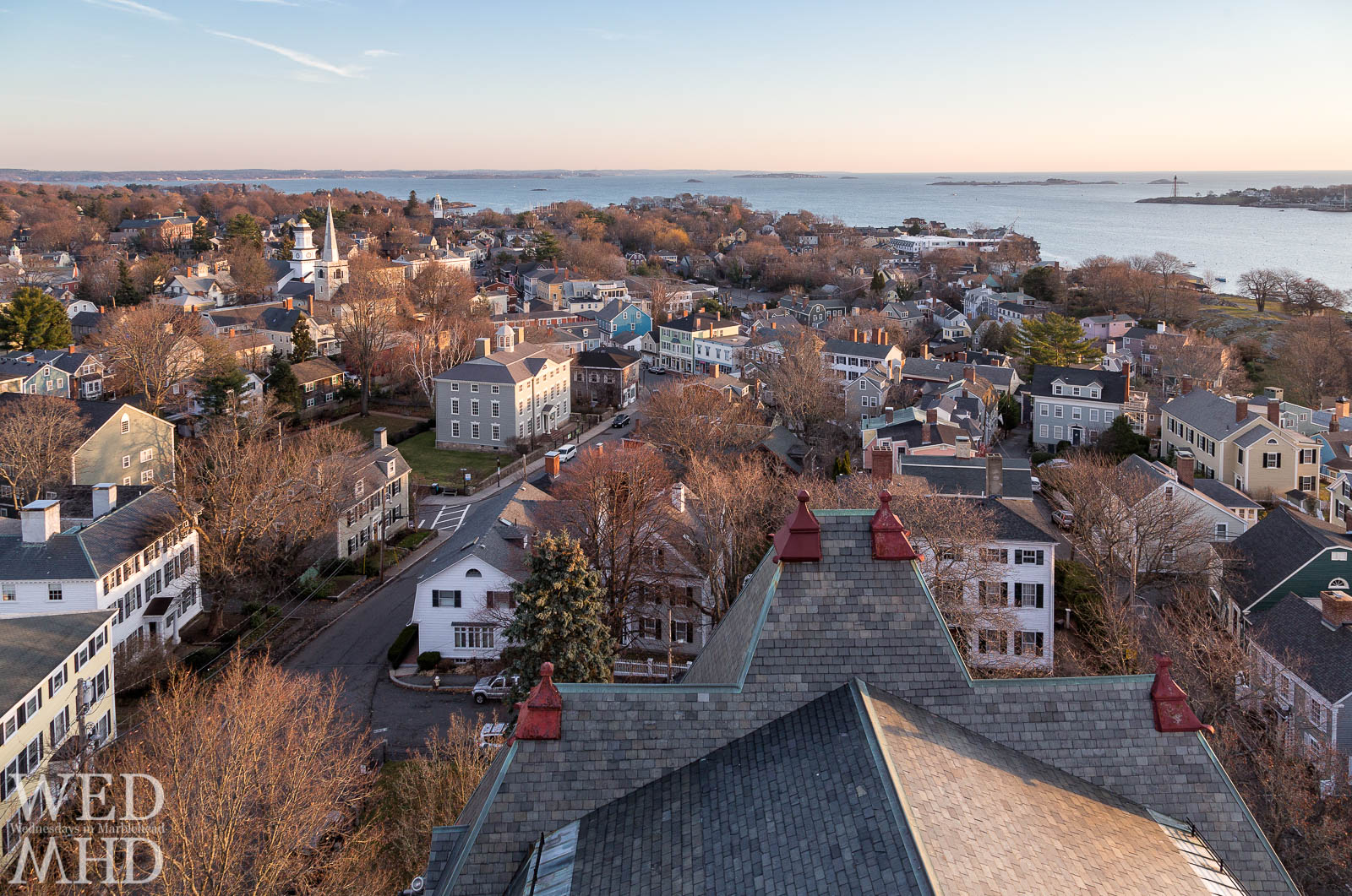 view of historic downtown Marblehead from the top of Abbot Hall tower