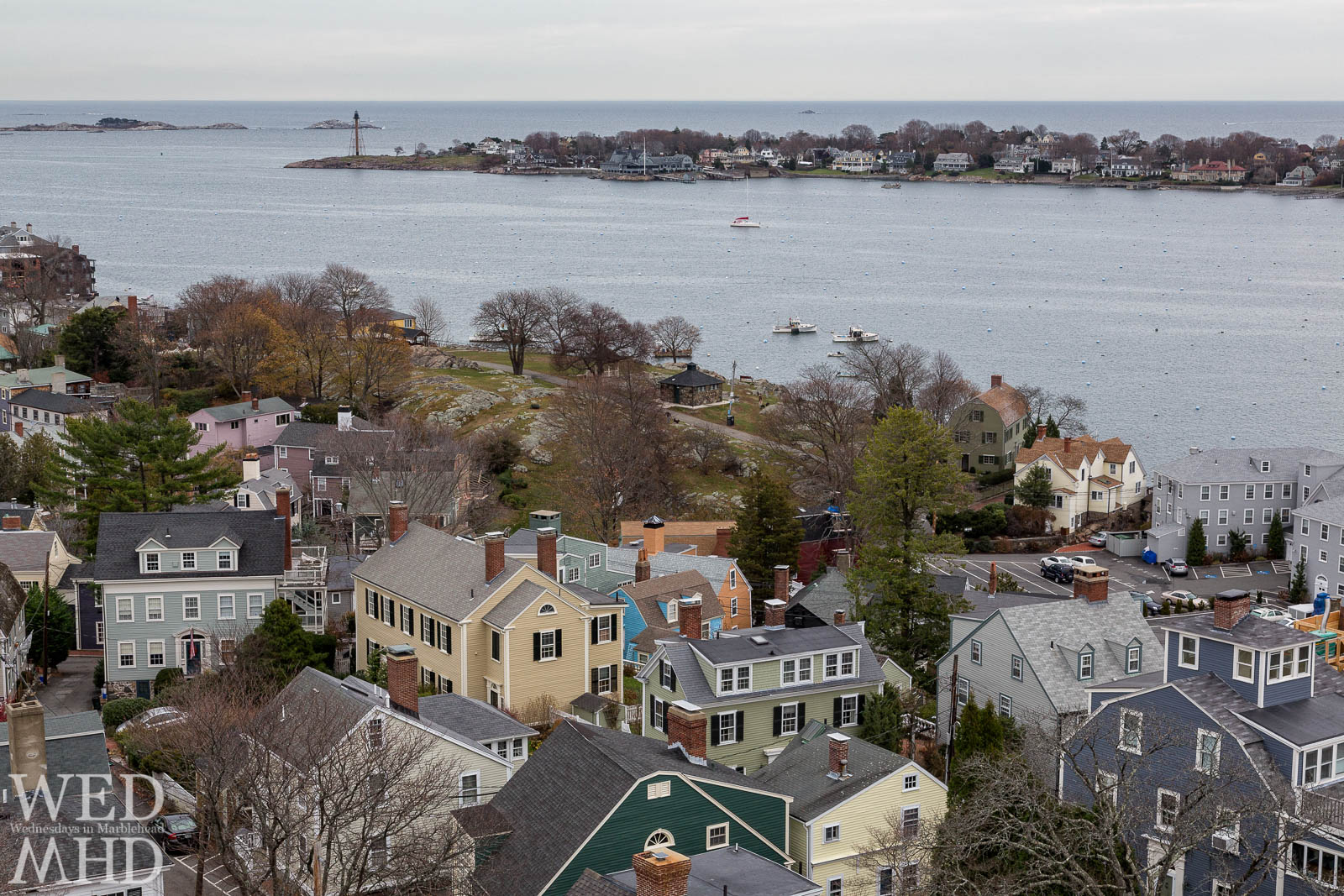 View from atop Abbot Hall features Crocker Park and Marblehead Harbor