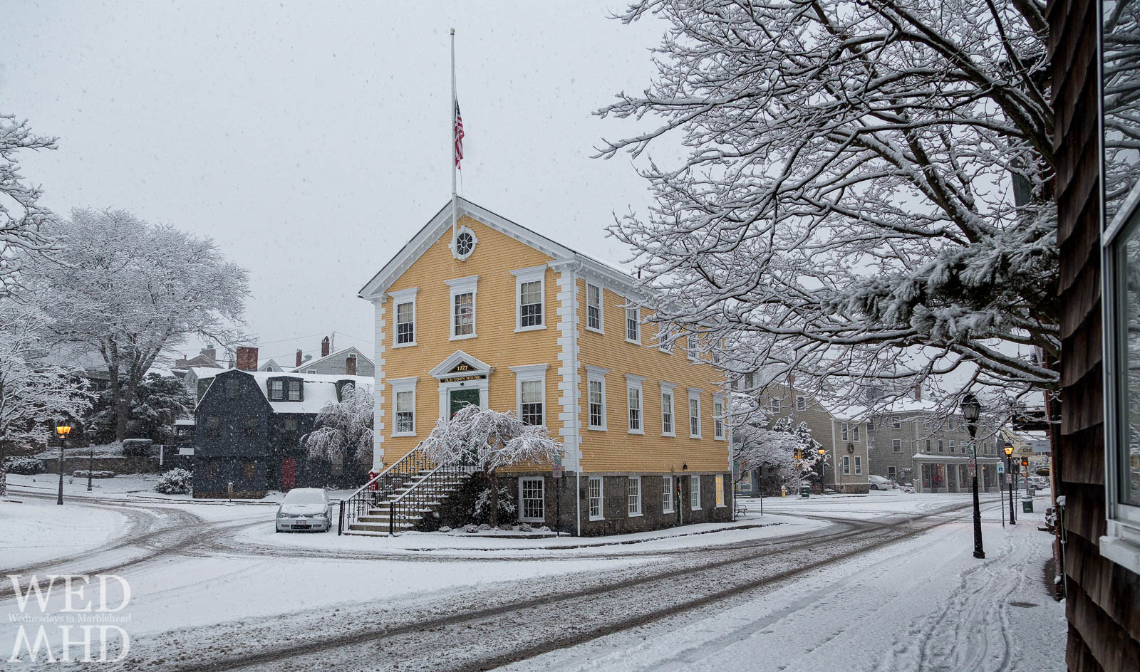 freshly falling snow on Old Town House in Marblehead