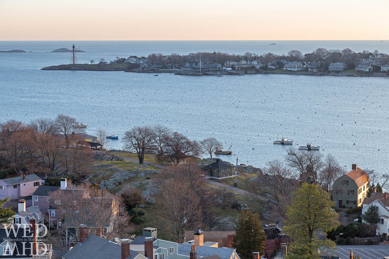 A view of Crocker Park and Marblehead Neck from atop Abbot Hall tower