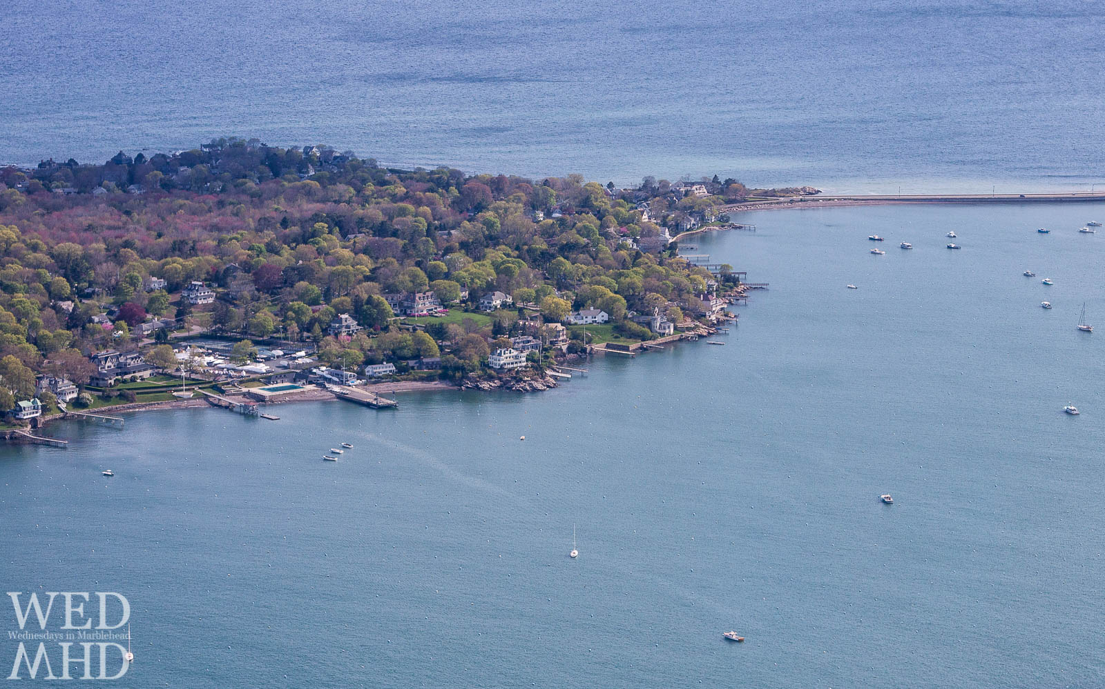 Marblehead Neck and the Causeway are seen from overhead on an early Spring day