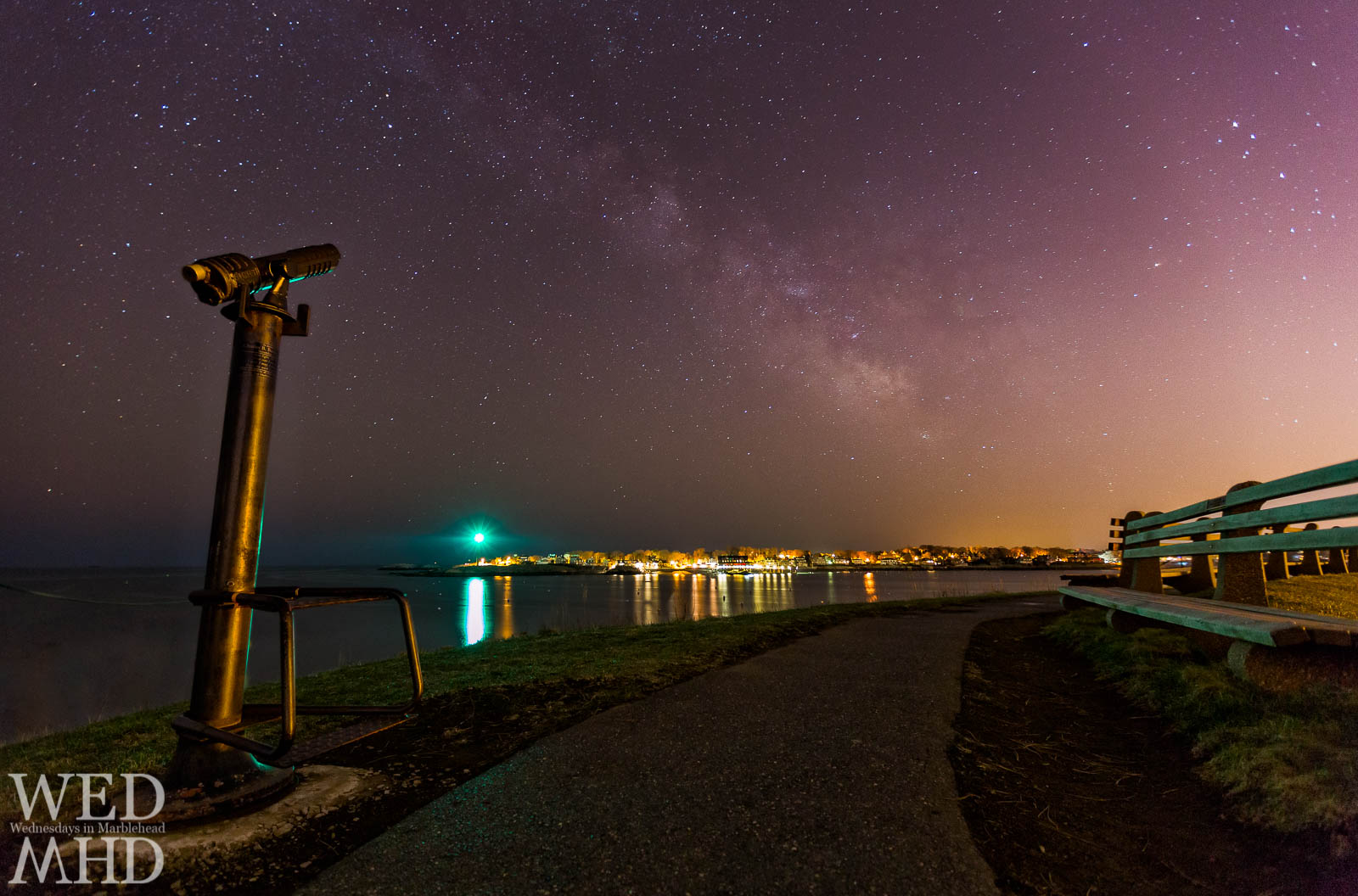 The Milky Way is captured over Marblehead Light from this vantage point at Fort Sewall