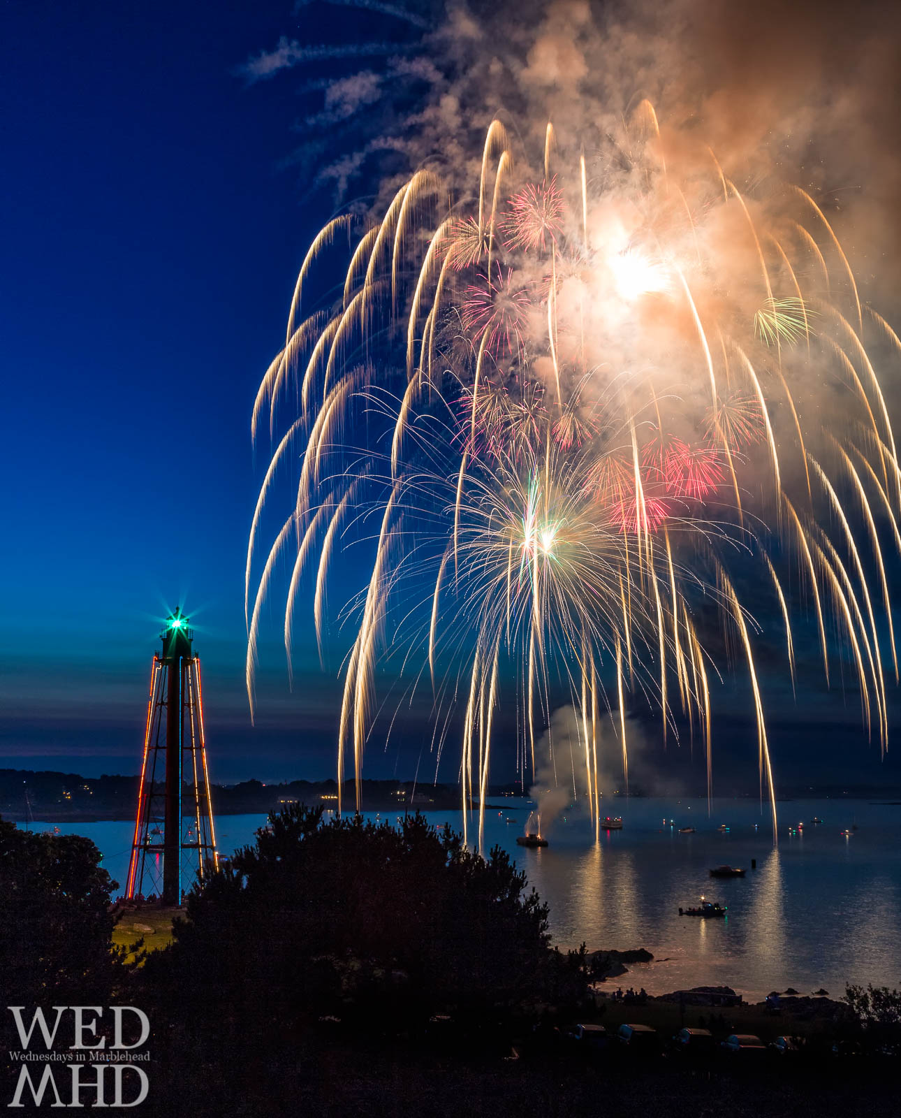 Volleys of fireworks make up the grand finale of the Marblehead Fireworks display