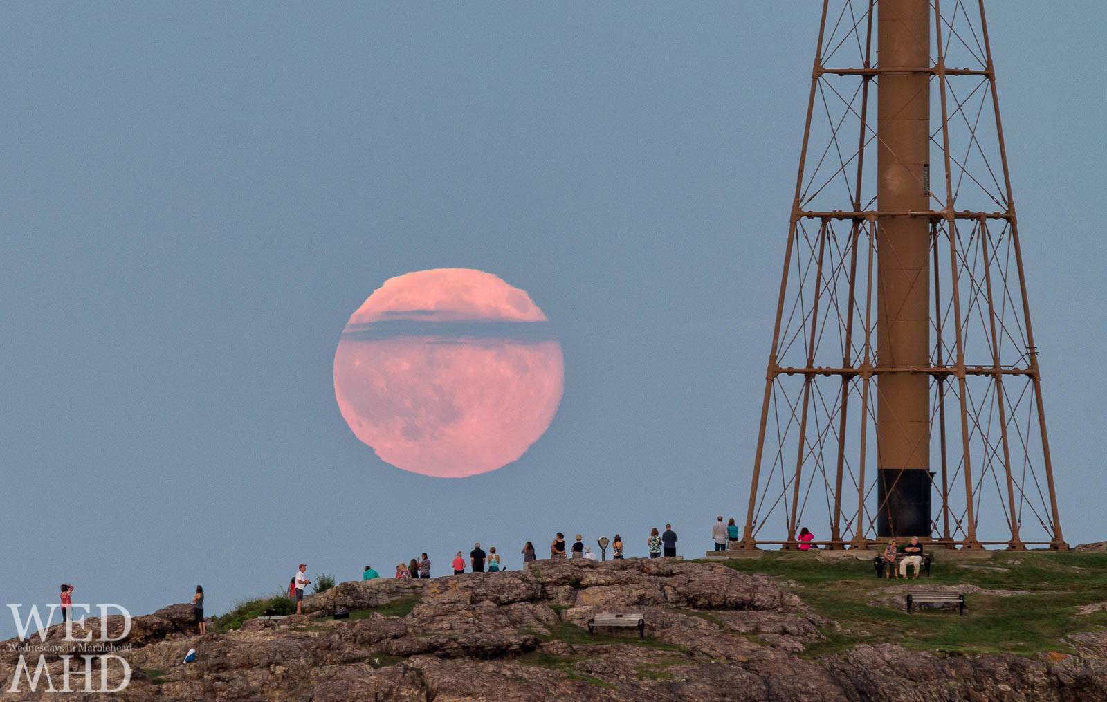 People gather at Chandler Hovey Park to watch the blue moon rise