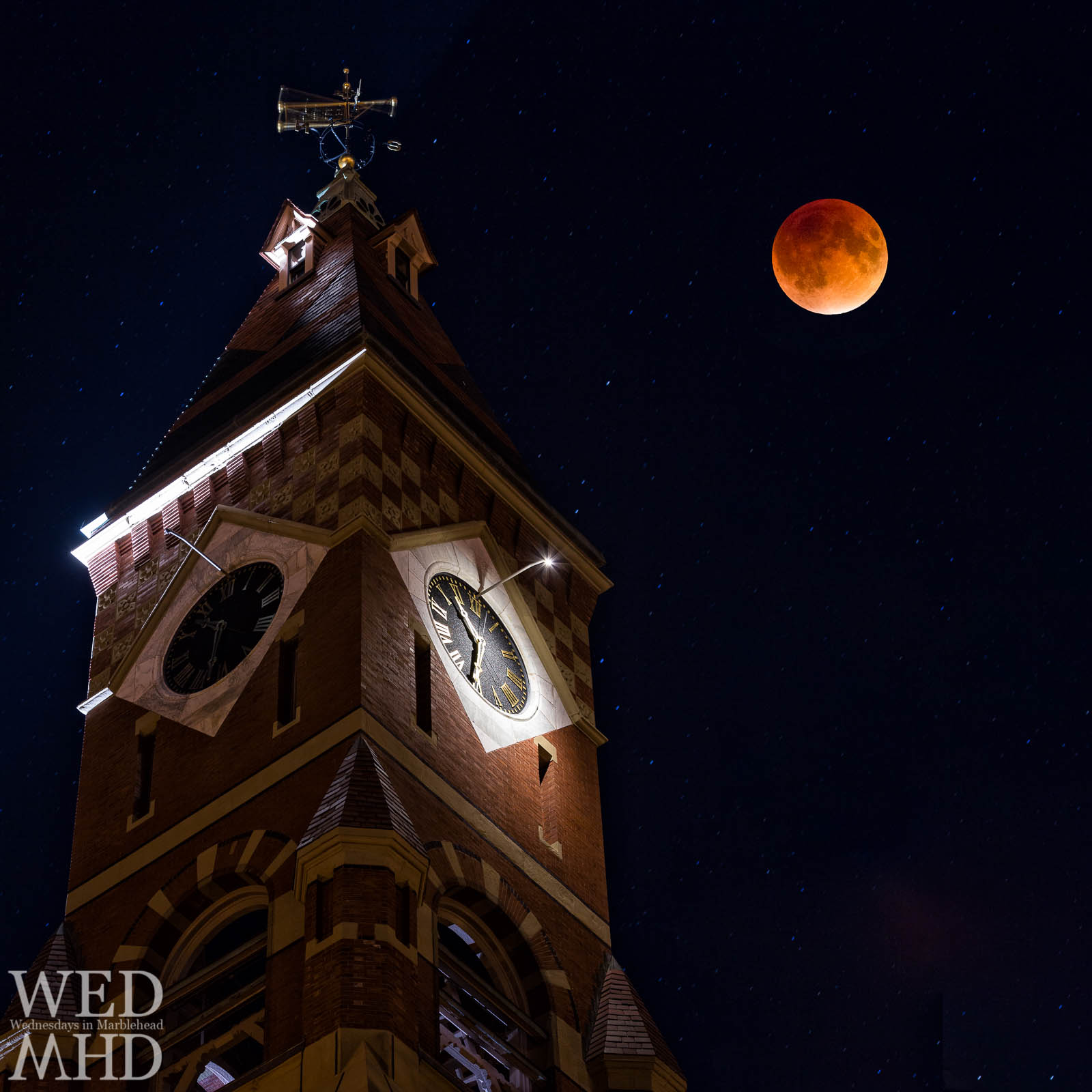 A total lunar eclipse cast the supermoon in a blood red color near Abbot Hall