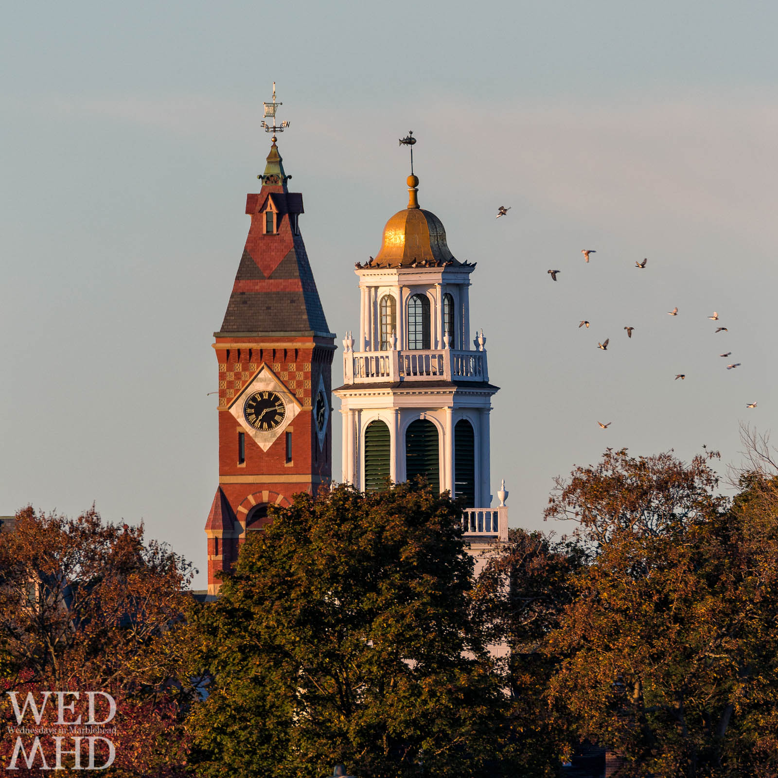 An iconic view of Abbot Hall and Old North Church on an early Fall morning