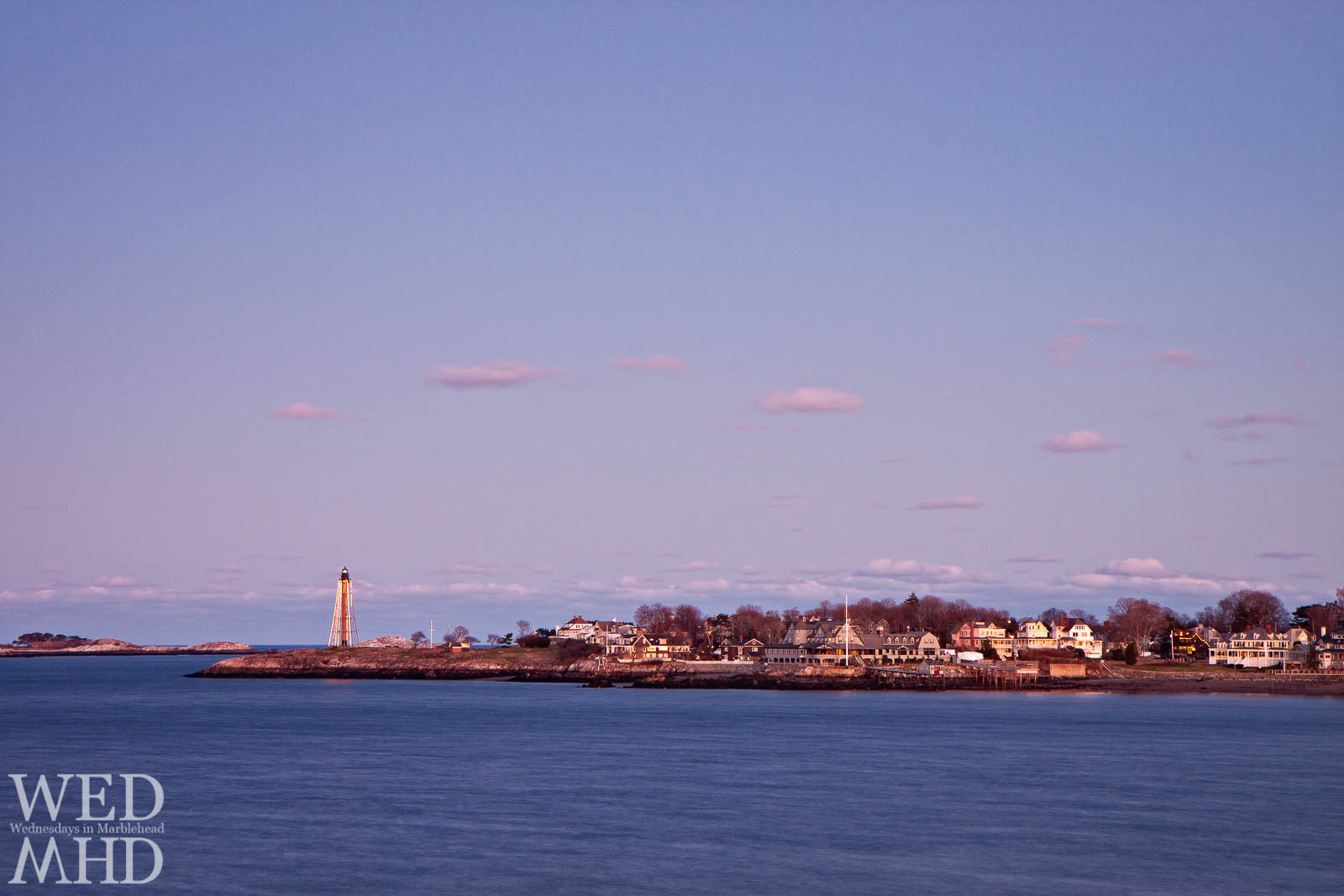 Marblehead Light and Neck are lit up for the holidays in this image from Christmas Eve
