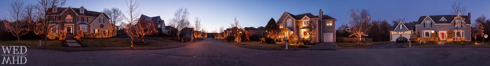 Beautiful holiday lights decorate the houses along Riverside Drive in Marblehead