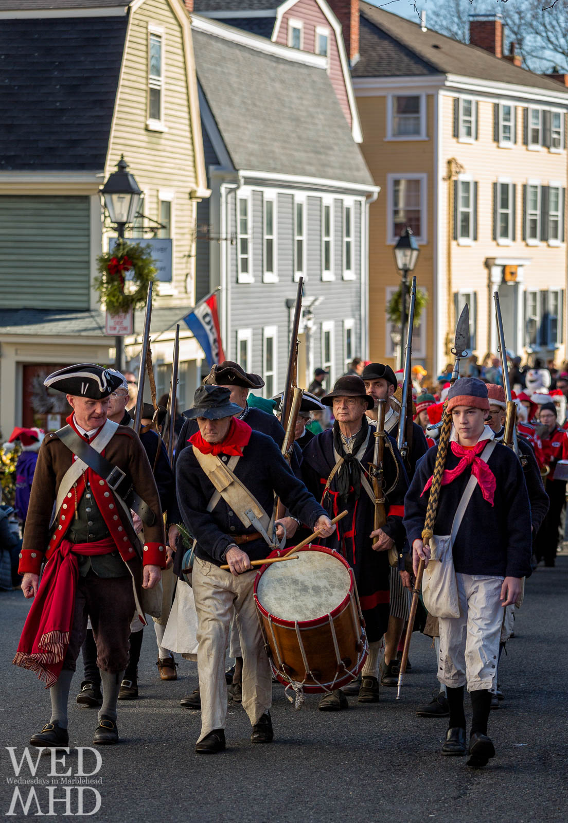 Glover's regiment marches up State Street during the annual Marblehead Christmas Walk parade