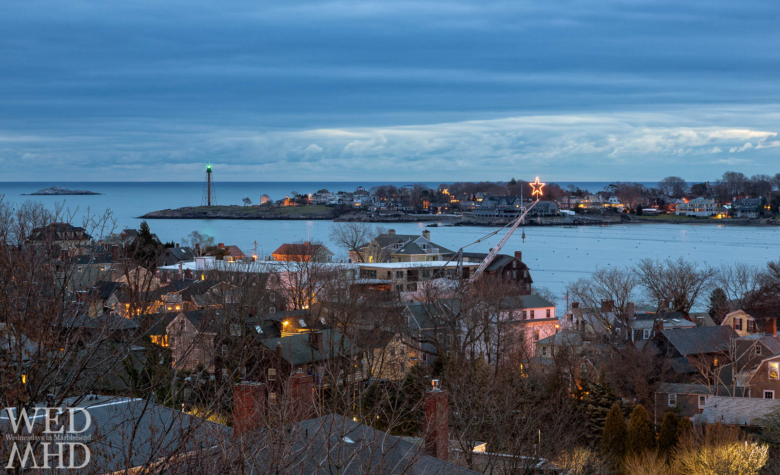 A star shines over Marblehead Neck in this New Years Day image from atop St. Michael's Church