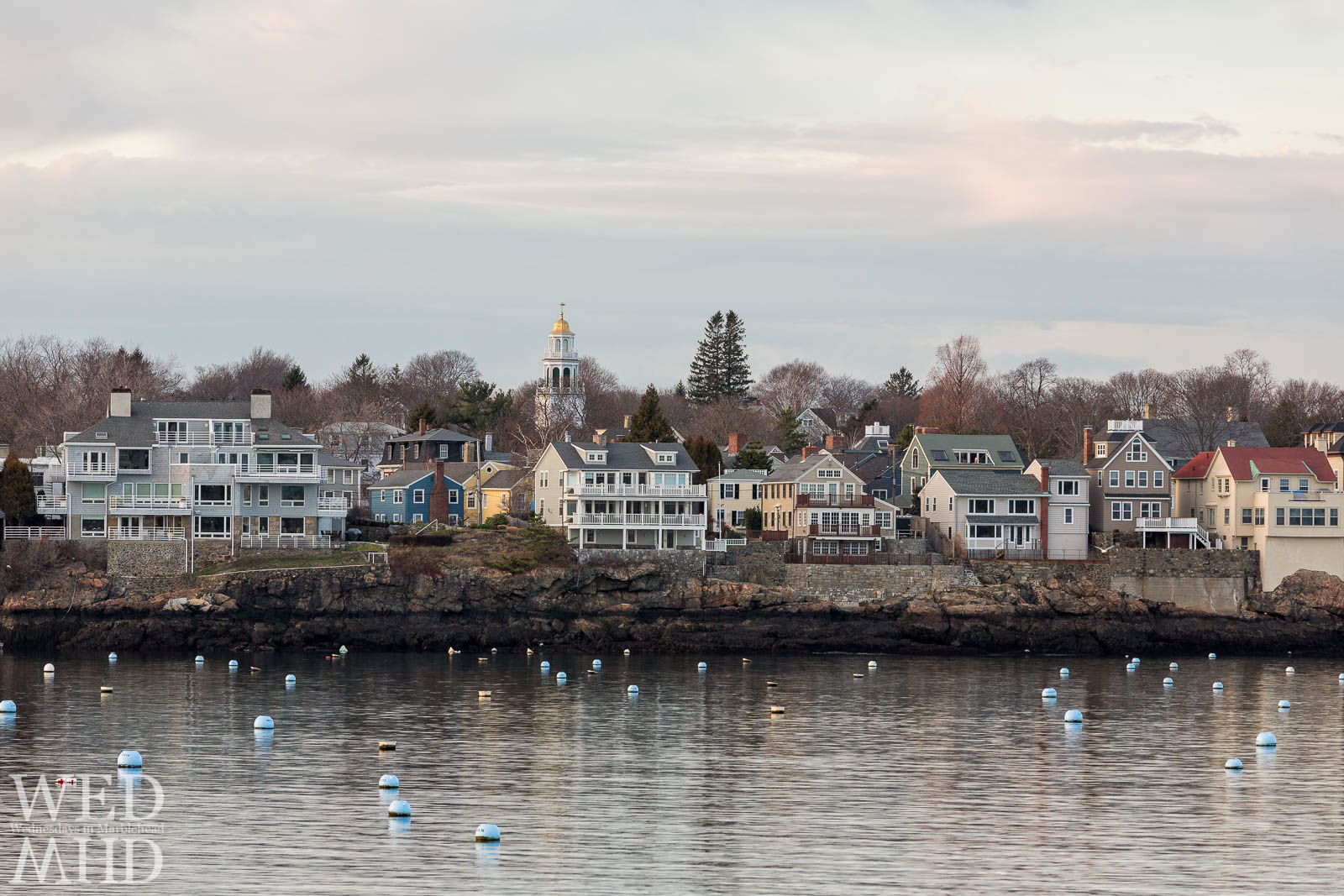 Old North Church and waterfront homes captured on Christmas Eve in Marblehead