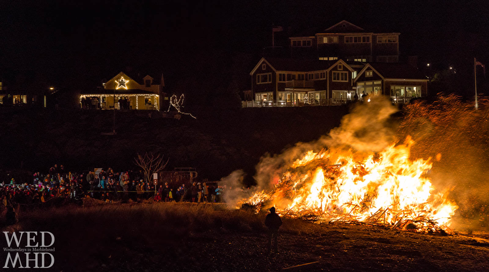 The annual Christmas tree bonfire takes place on Epiphany at Riverhead beach in Marblehead in a return to a longstanding tradition