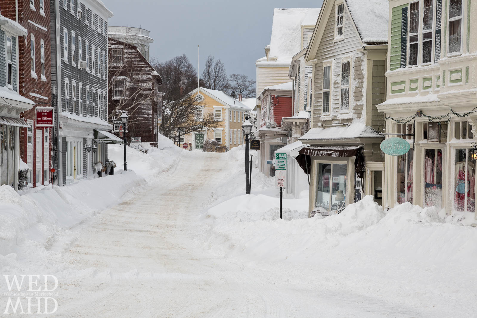 Freshly fallen snow forms a white blanket over the streets of Historic Downtown Marblehead after a February blizzard