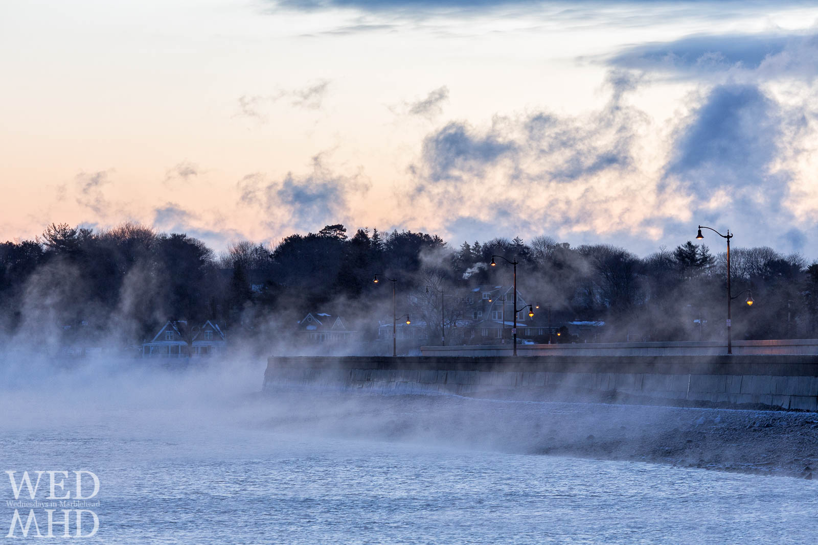 Sea smoke crashes over the causeway during an arctic blast of air