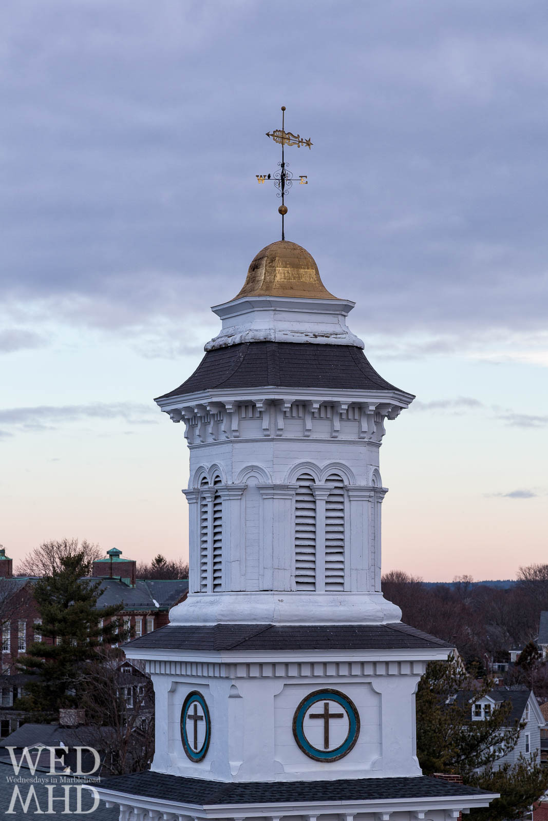 The cupola of Grace Community Church is seen on New Years Day at dawn