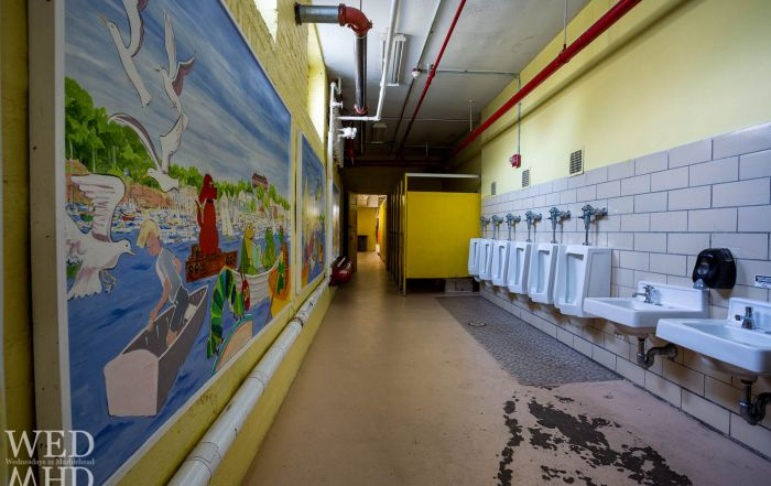 The boys  bathroom at the Gerry School features beautiful murals.