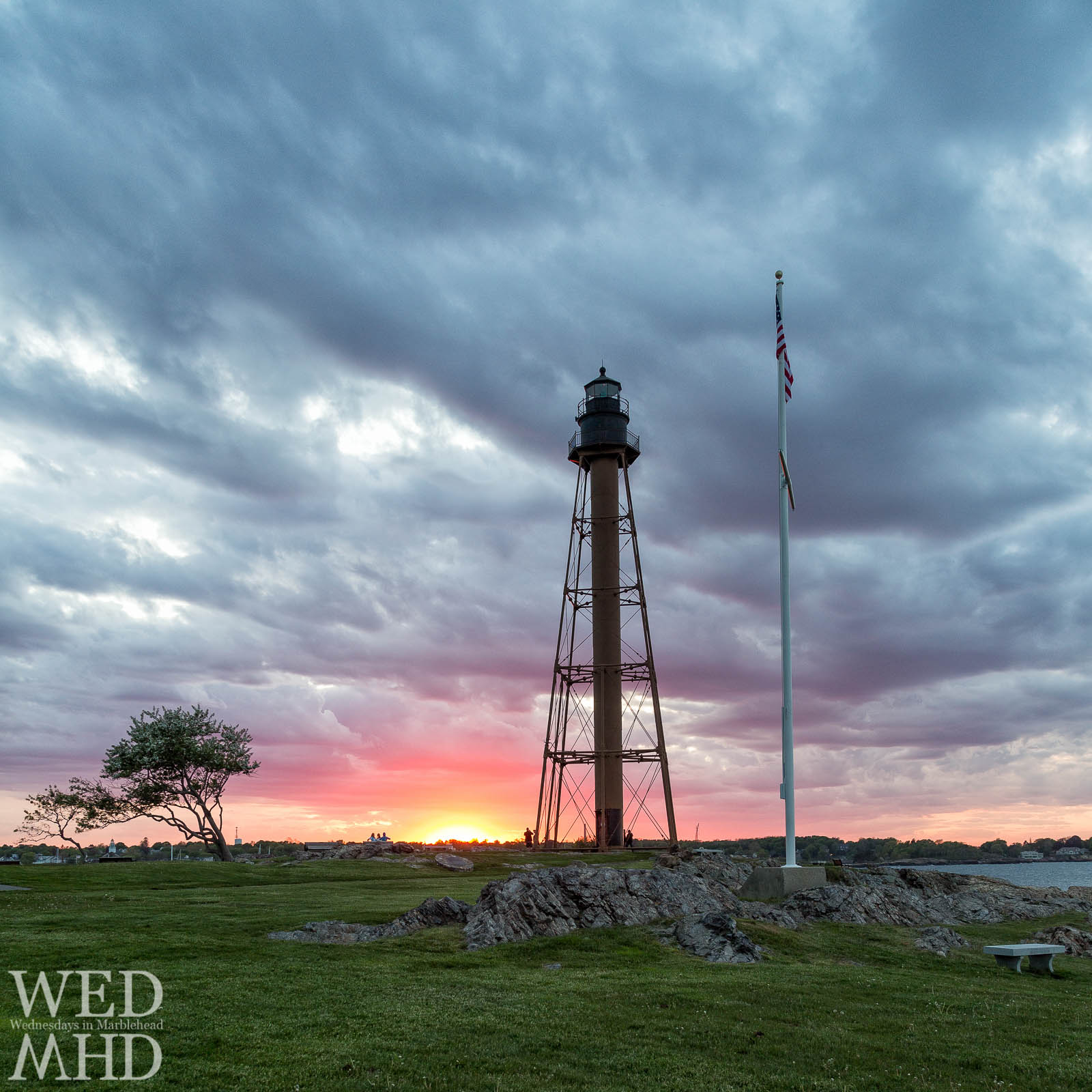 The days end results in an explosion of color at the base of Marblehead Light