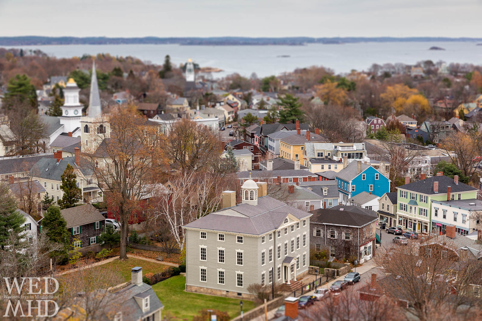 Historic downtown Marblehead seen from atop Abbot Hall appears as a model New England town
