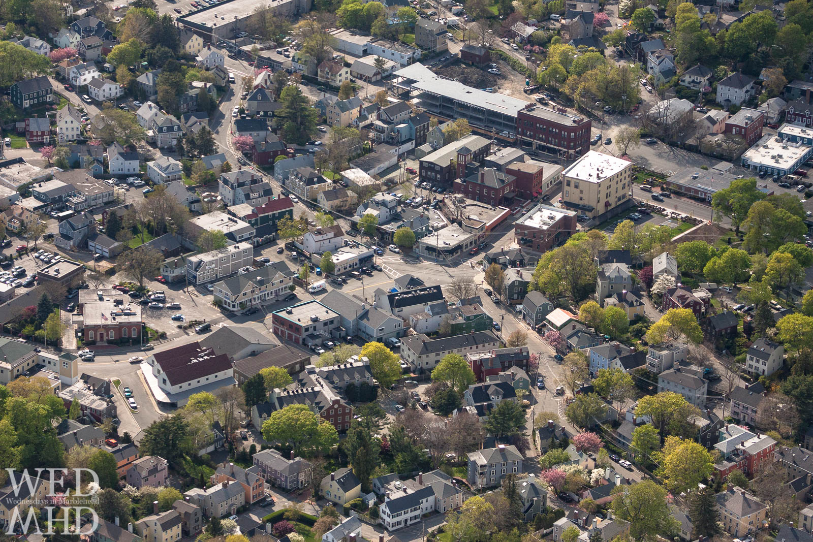 A view of the Five Corners intersection in Marblehead from a plane overhead