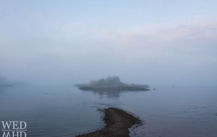 The land bridge to Gerry island disappears at midtide and becomes a road to nowhere as Gerry Island is enveloped in fog