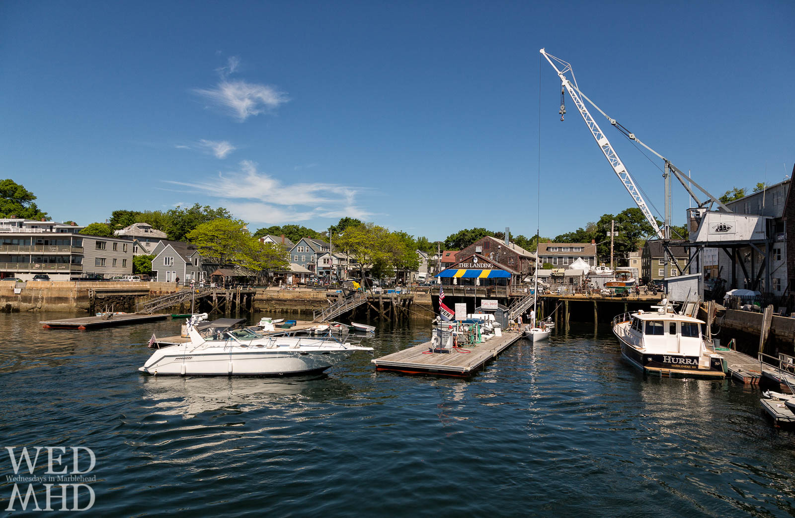 A view of The Landing restaurant in Marblehead seen from the water