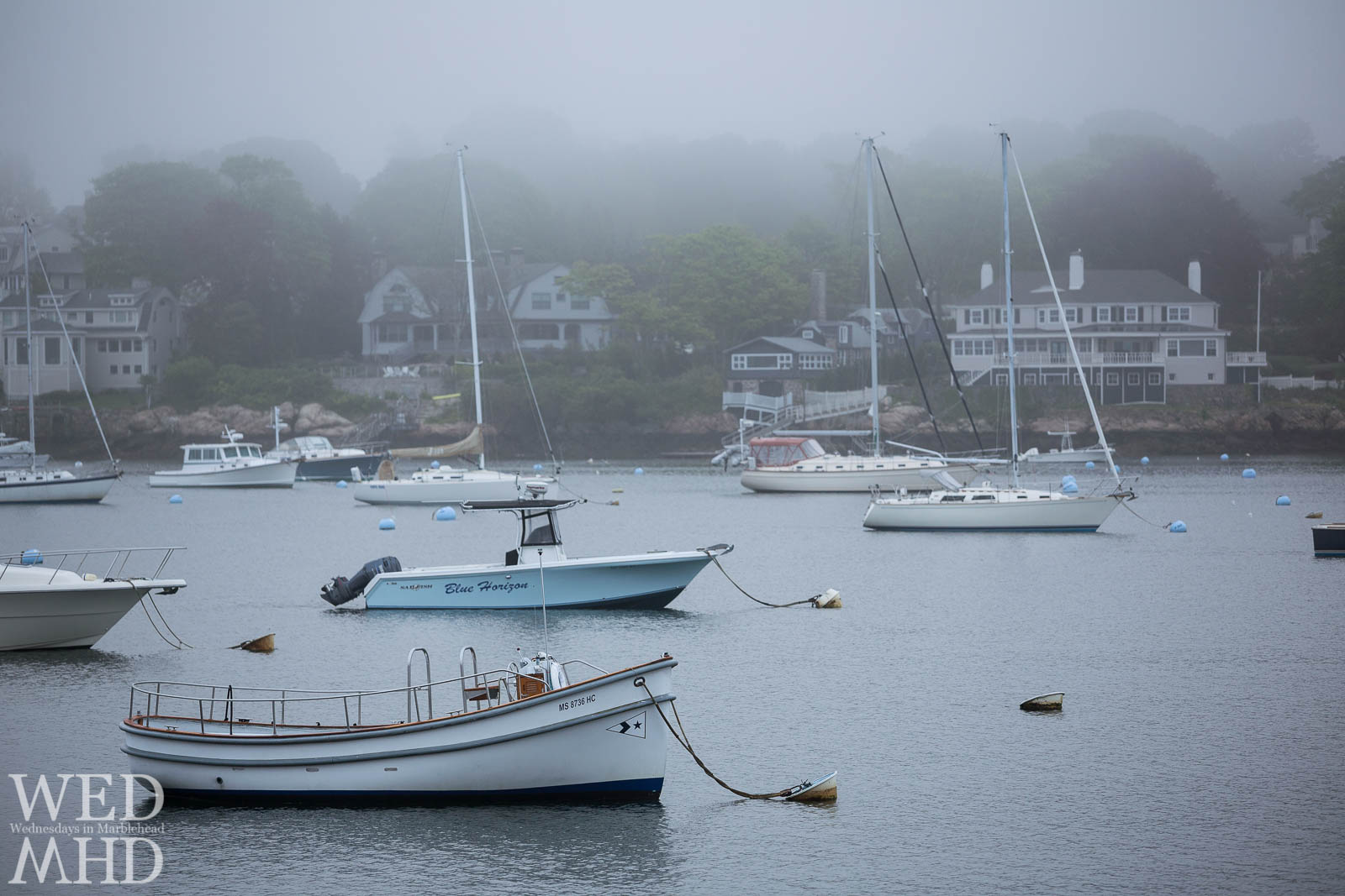 The Dolphin Yacht Club launch and several other boats are seen moored in the fog on a late May morning