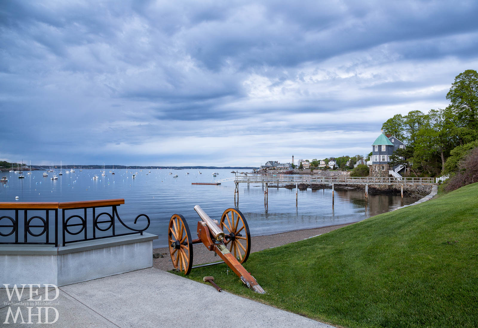 A sunset cannon stands ready to fire at the Eastern Yacht Club