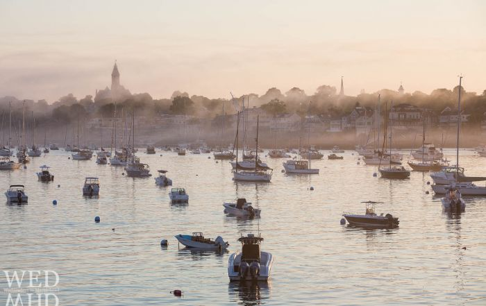 A perfect evening yields golden fog in Marblehead Harbor