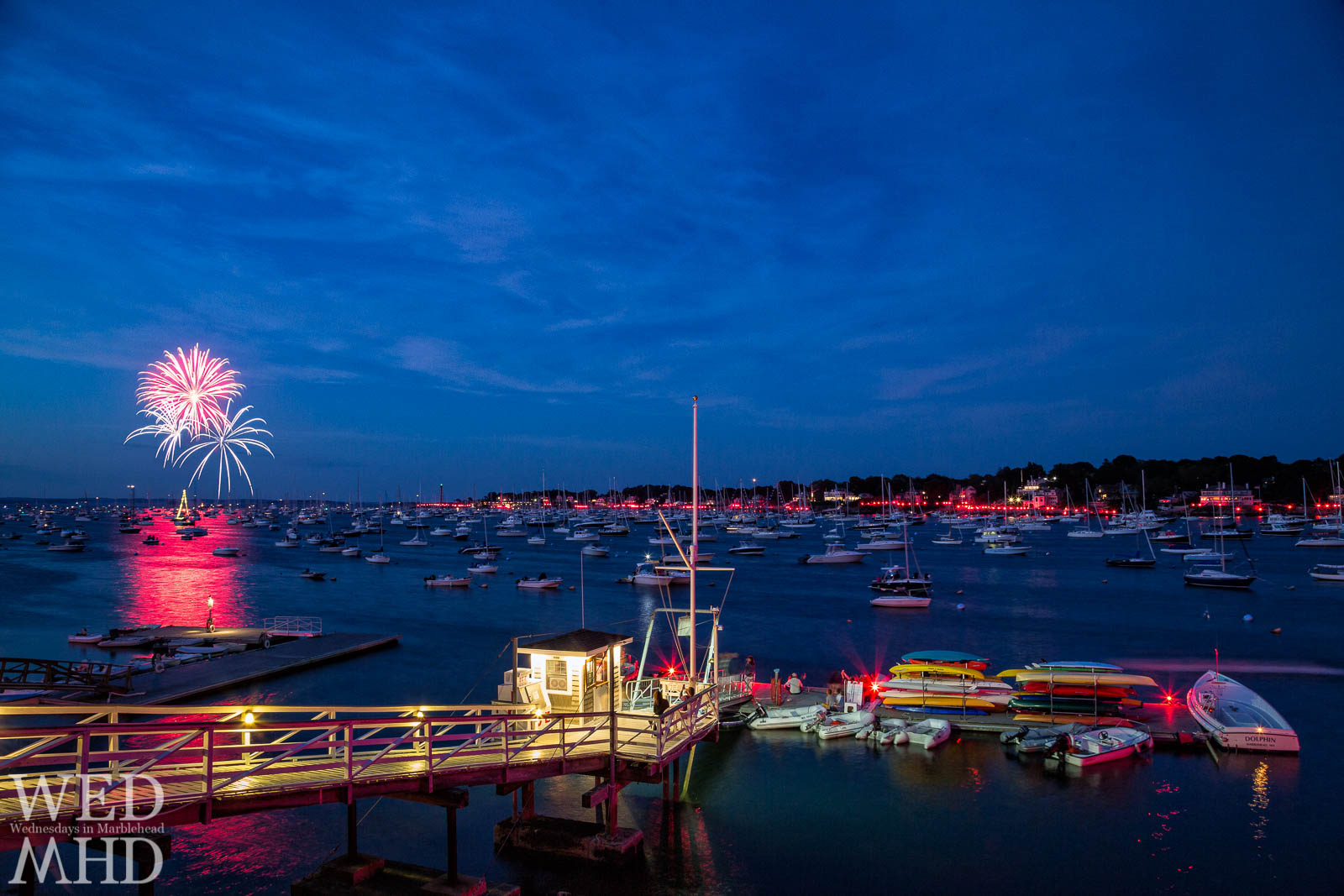 An explosion of reds and blues captures the incredible display of the Marblehead fireworks and harbor illumination
