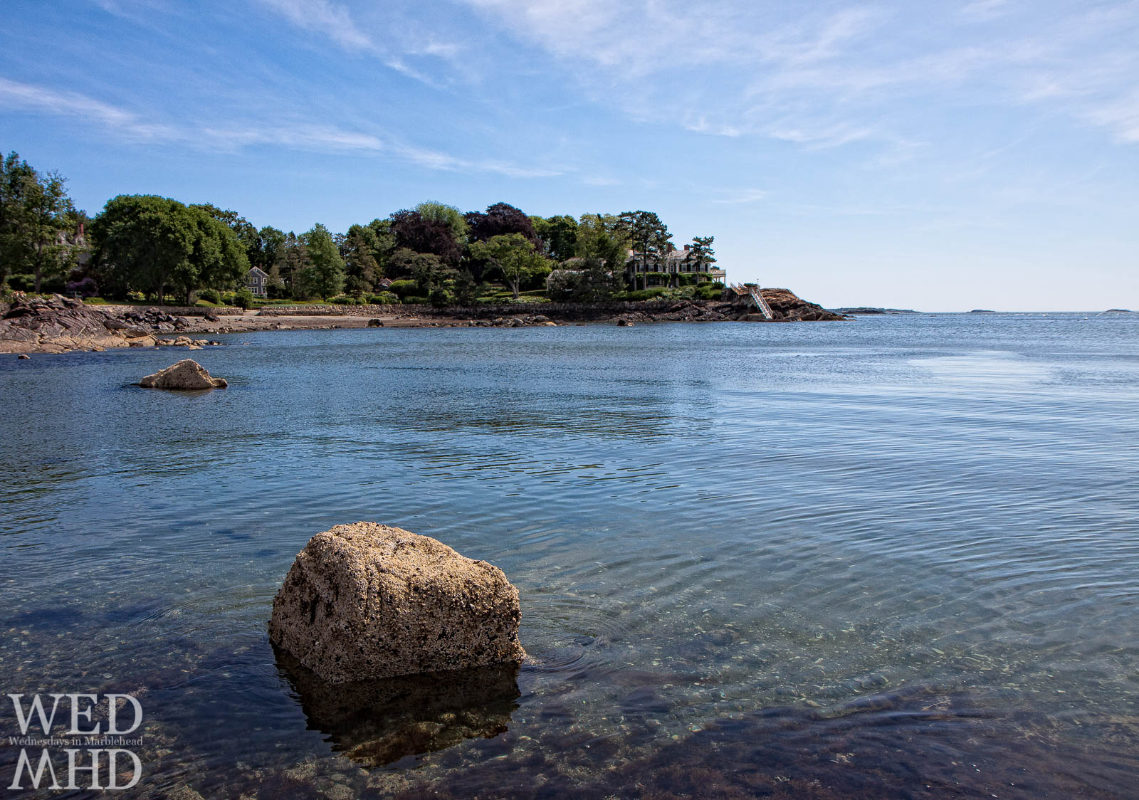 Grace Oliver Beach at high tide on an early Summer day in Marblehead