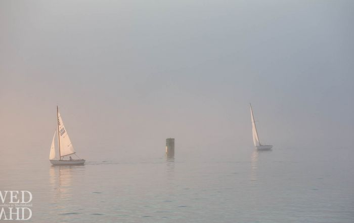 Two town class sailboats reflect sunlight as they are caught racing in the fog on a Summer evening