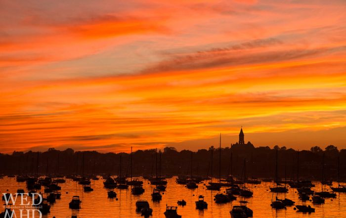 All in Marblehead know the refrain Red Sky at Night - Sailors Delight.  Here is our sailing town at sunset on a late September evening.