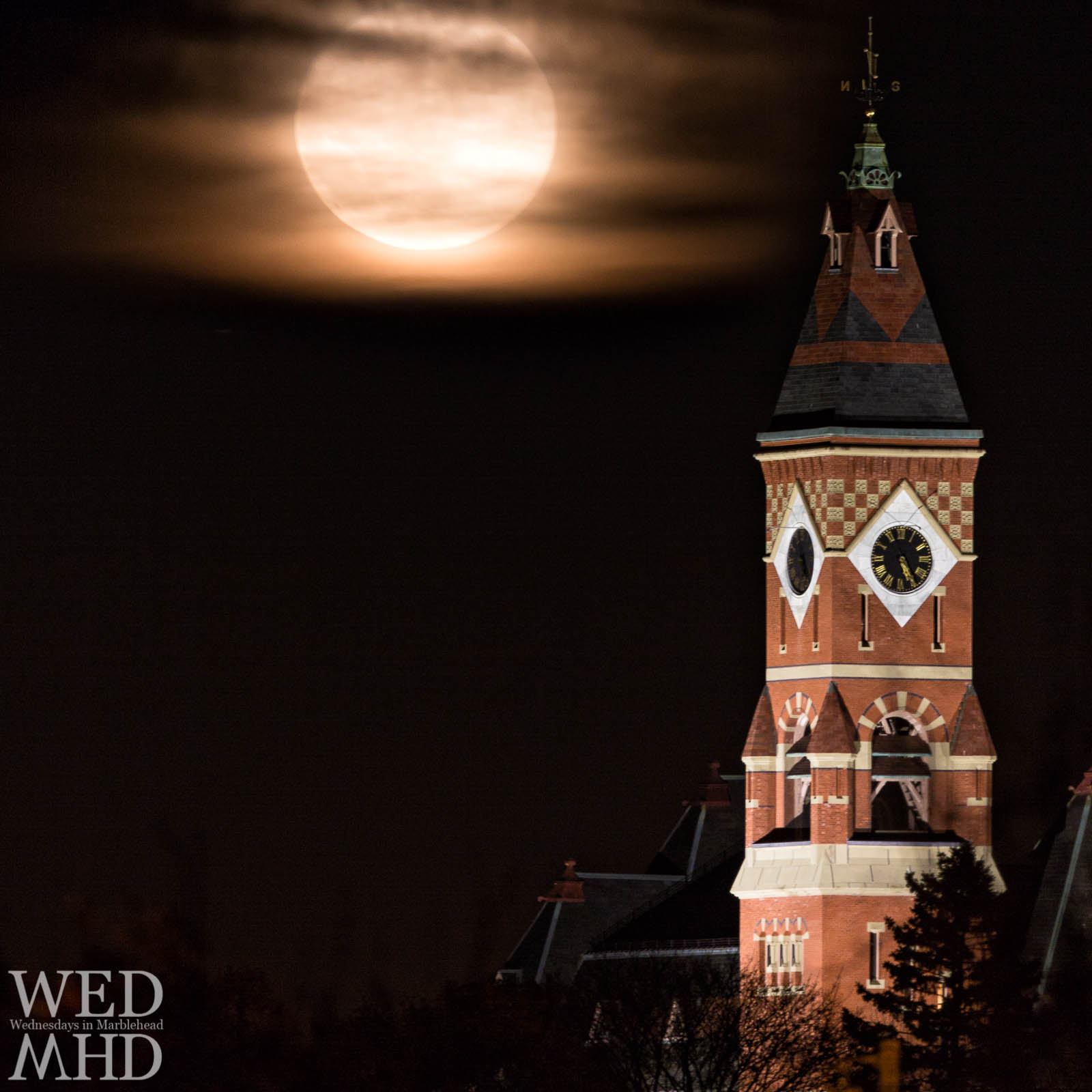The supermoon rises against the iconic Abbot Hall in Marblehead. This was the largest full moon in over 60 years.
