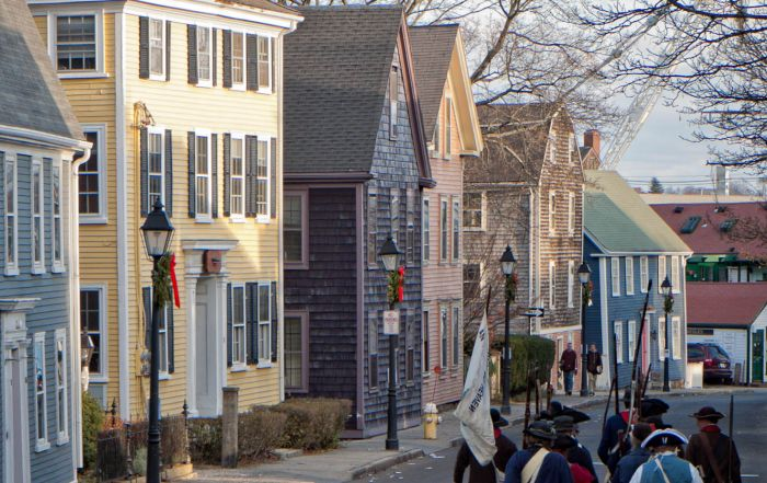 Glovers Regiment walks down State Street at the end of the annual Marblehead Christmas Walk parade