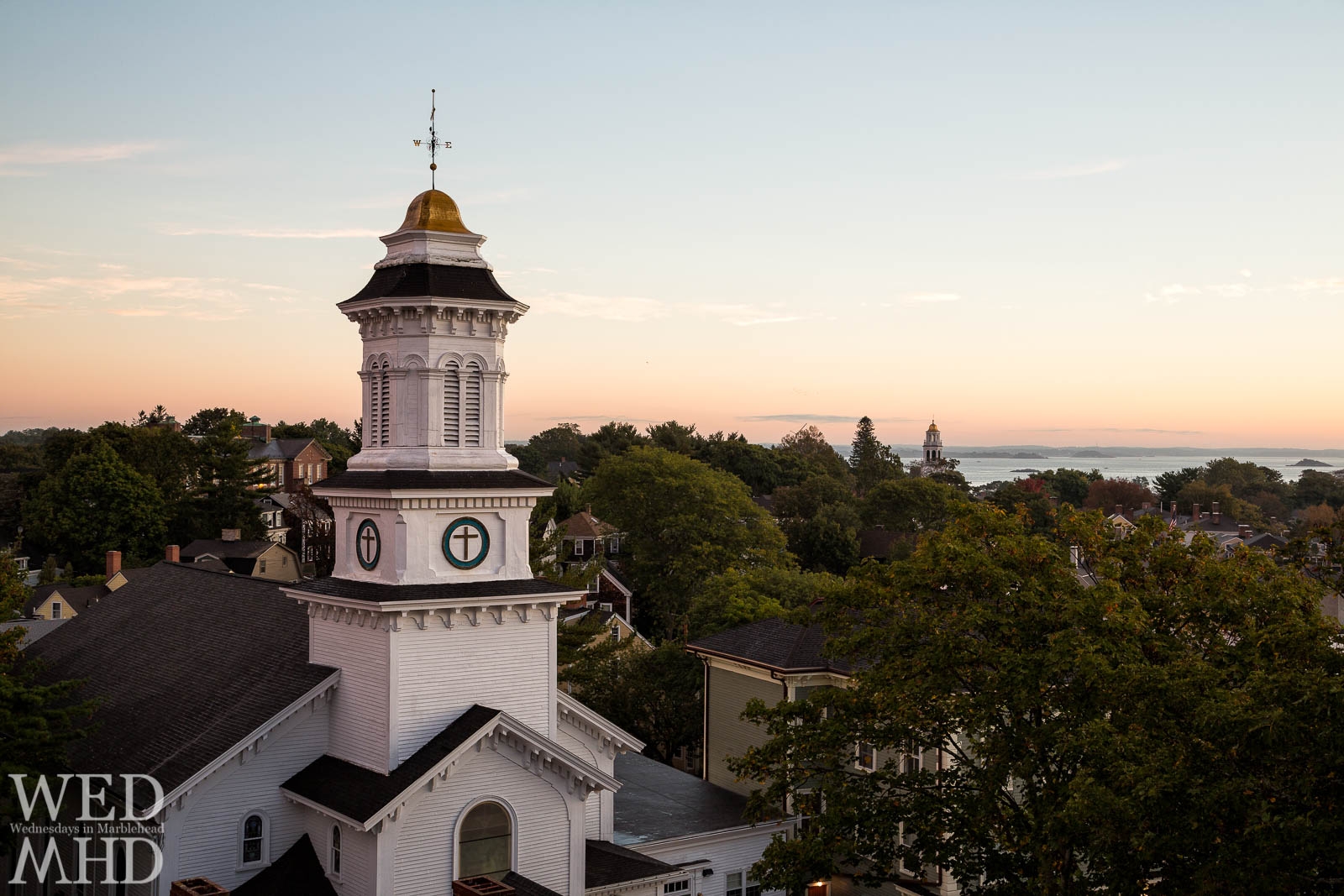 Grace Community Church captured just after sunrise from atop St. Michael's steeple in downtown Marblehead